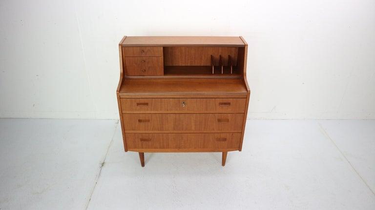 Scandinavian Modern Midcentury Danish Modern Teak Wood Secretary Desk, Chest of Drawers, 1960s For Sale