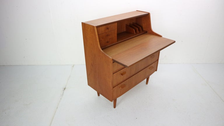 Mid-20th Century Midcentury Danish Modern Teak Wood Secretary Desk, Chest of Drawers, 1960s For Sale