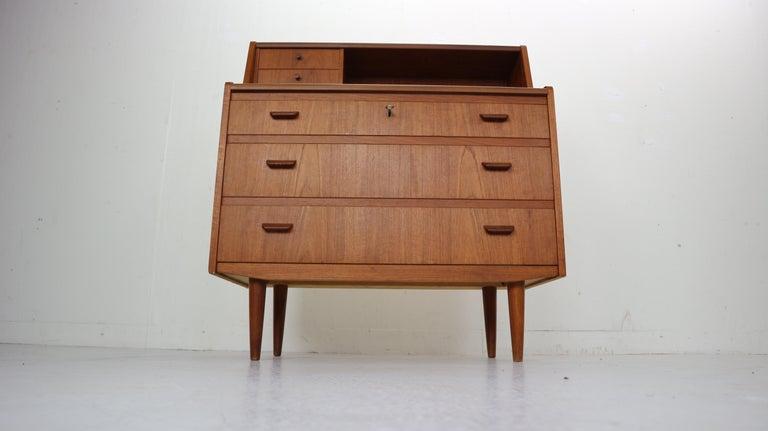 Midcentury Danish Modern Teak Wood Secretary Desk, Chest of Drawers, 1960s For Sale 2