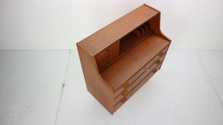 Midcentury Danish Modern Teak Wood Secretary Desk, Chest of Drawers, 1960s For Sale 3