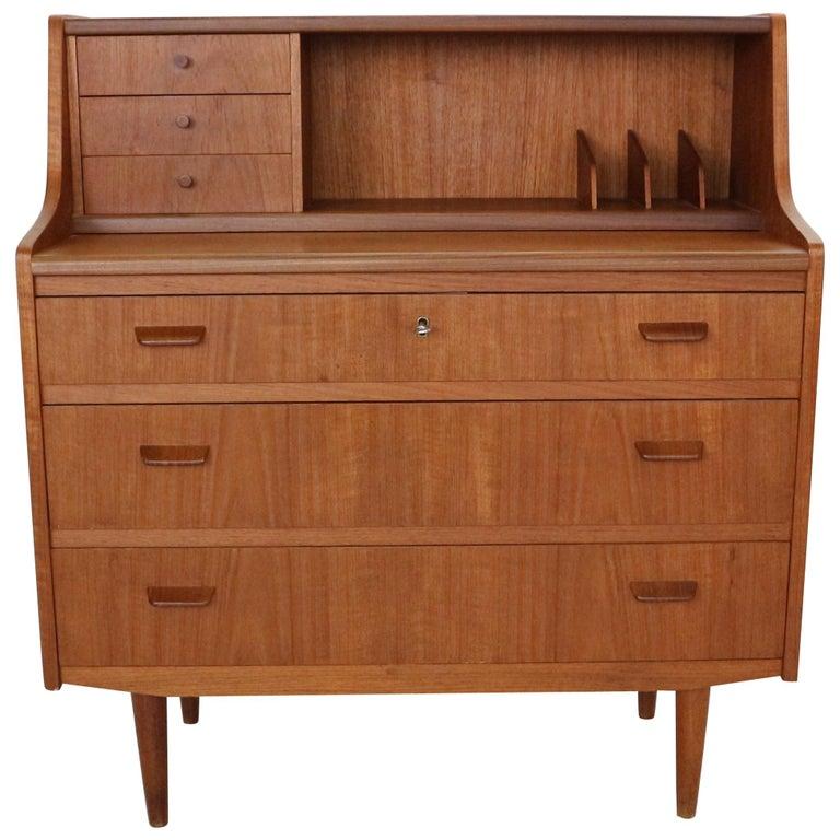 Midcentury Danish Modern Teak Wood Secretary Desk, Chest of Drawers, 1960s For Sale