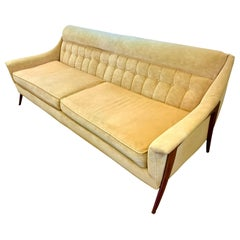 Midcentury Danish Modern Tufted Sculptural Sofa with Ultra Suede Fabric