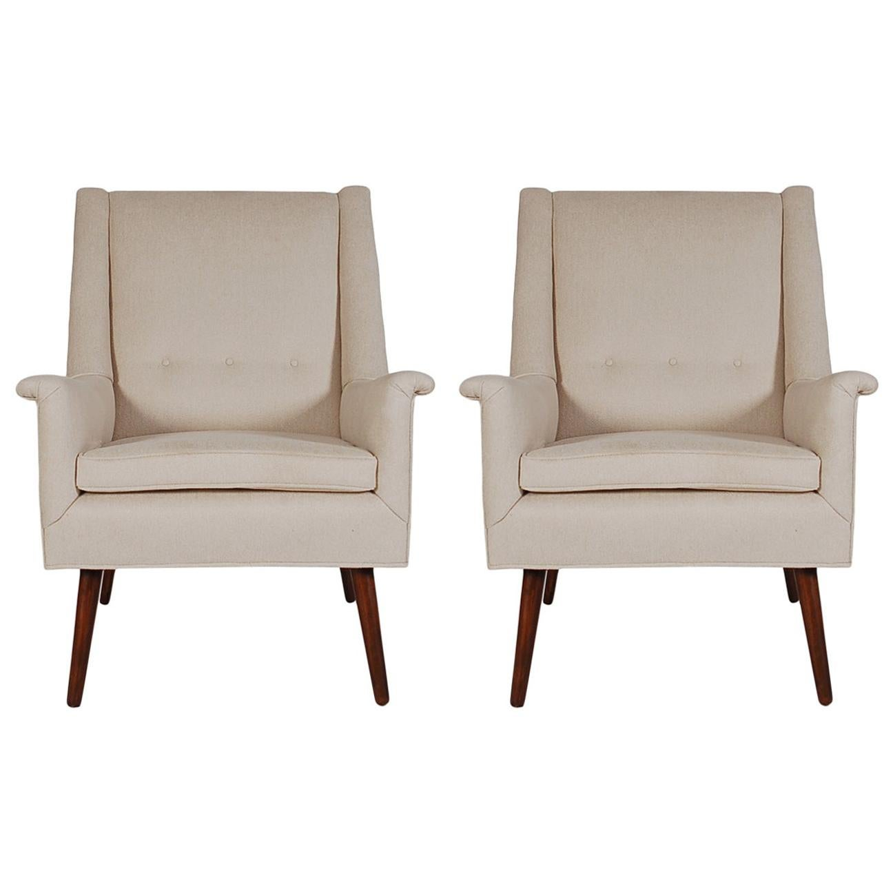 Midcentury Danish Modern Upholstered Armchair Lounge Chairs After DUX in Walnut
