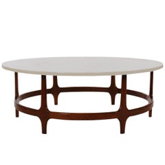 Midcentury Danish Modern Walnut and Marble Round or Circular Cocktail Table