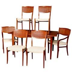Midcentury Danish Modern Walnut Dining Set by Drexel, 20th Century