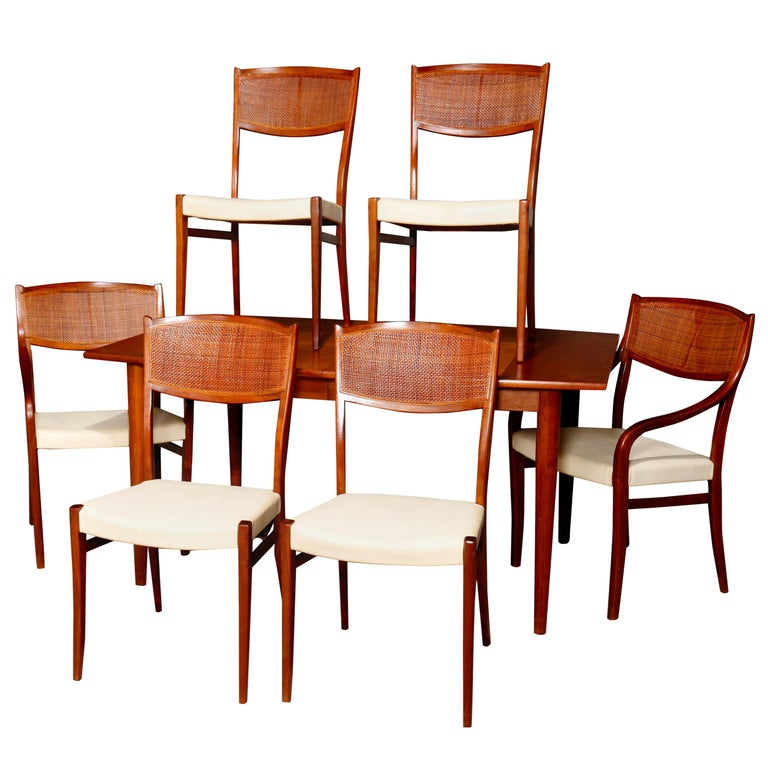 Midcentury Danish Modern Walnut Dining Set by Drexel, 20th Century For Sale