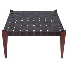 Midcentury Danish Modern Wood & Black Leather Bench, Ottoman or Coffee Table