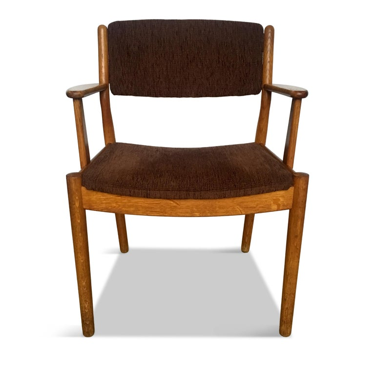 Fabric Midcentury Danish Oak Armchair by Poul Volther for FDB Møbler, 1950s For Sale