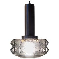 Midcentury Danish Pendant Light in Smoke Glass from Vitrika, 1960s