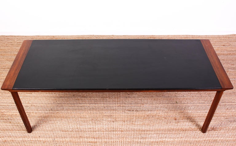 Scandinavian Modern Midcentury Danish Rosewood Coffee Table with Leather Top For Sale
