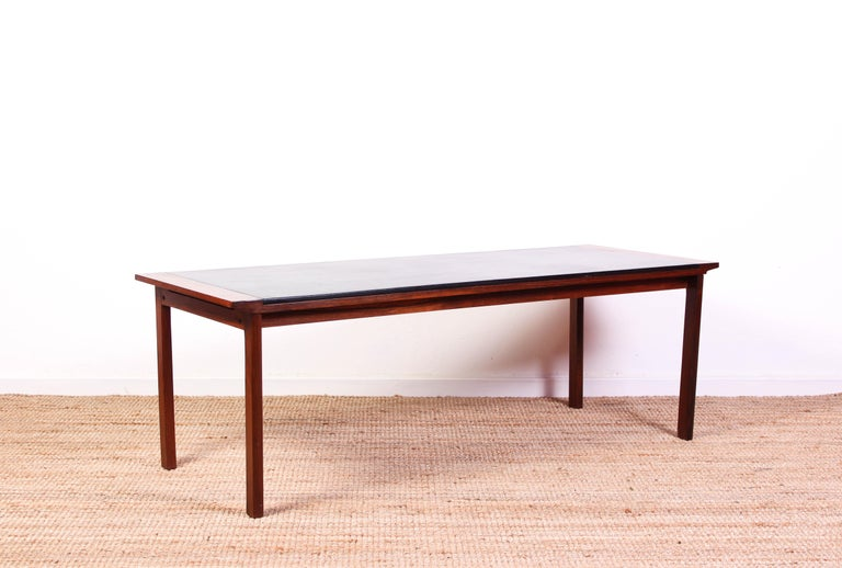 Midcentury Danish Rosewood Coffee Table with Leather Top For Sale 1