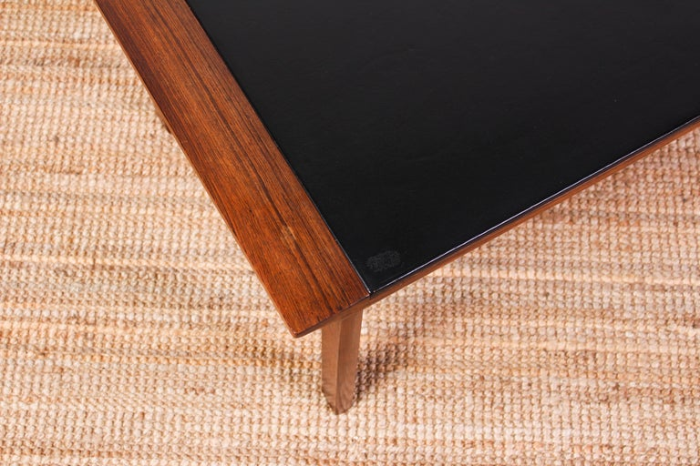 Midcentury Danish Rosewood Coffee Table with Leather Top For Sale 2