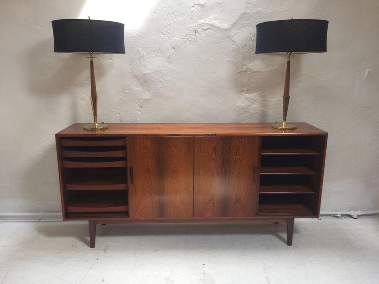 Midcentury Danish Rosewood Highboard Sideboard in the Style of Gunni Omann 1960 In Good Condition For Sale In Sherborne, Dorset