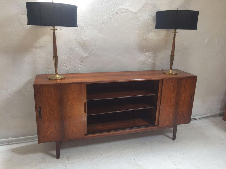 20th Century Midcentury Danish Rosewood Highboard Sideboard in the Style of Gunni Omann 1960 For Sale