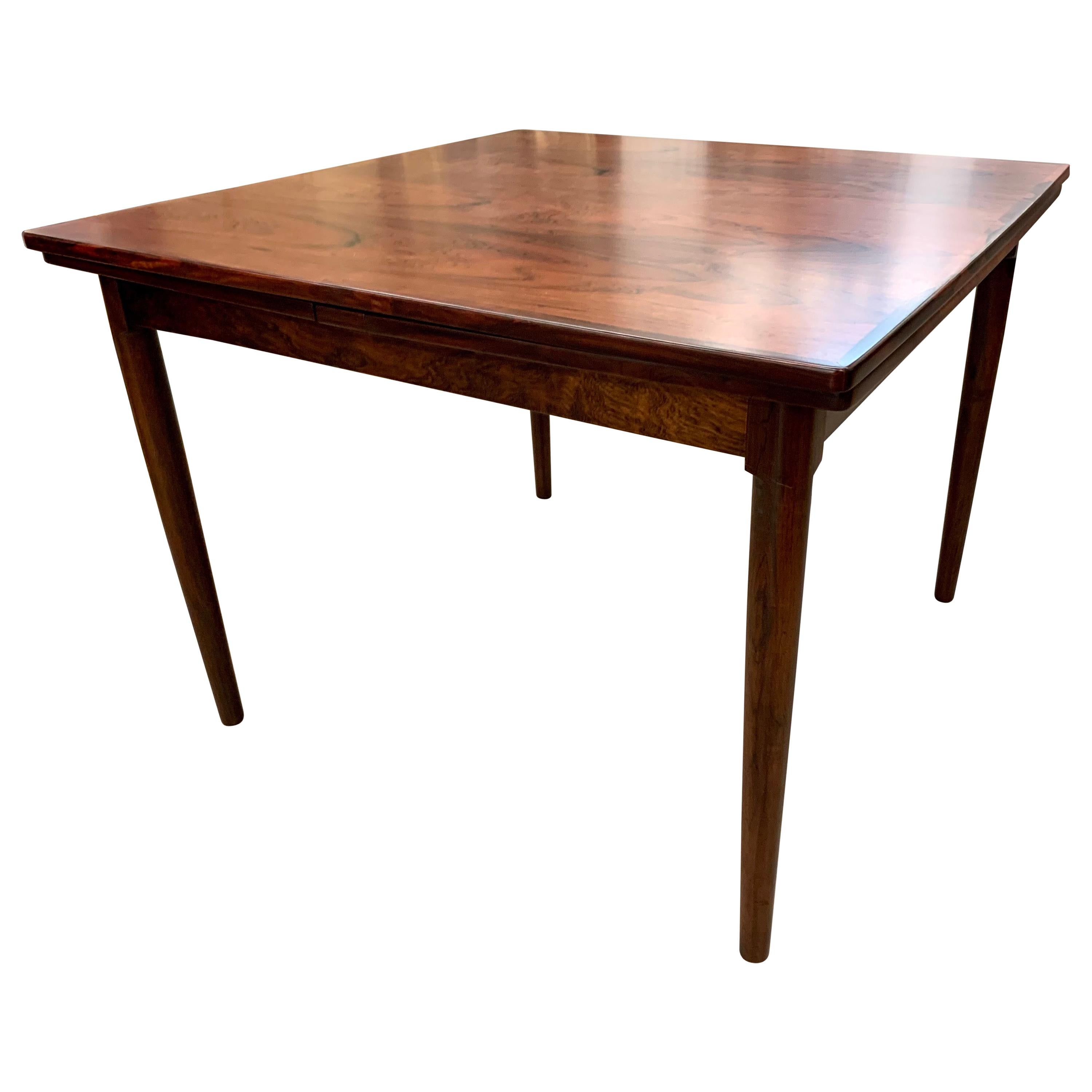 Midcentury Danish Scandinavian Expandable Rosewood Table Doubles in Size