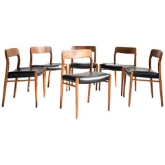 Midcentury Danish Set of 6 Chairs in Teak and Leather by Møller