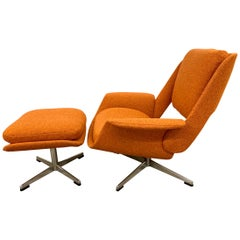 Midcentury Danish Signed Stendig Swivel Chair and Ottoman Newly Upholstered