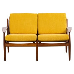 Midcentury Danish Sofa by Arne Vodder for Glostrup in Teak and Yellow Fabric