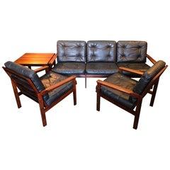 Midcentury Danish Sofa Set by Illum Wikkelso, Rosewood and Leather.