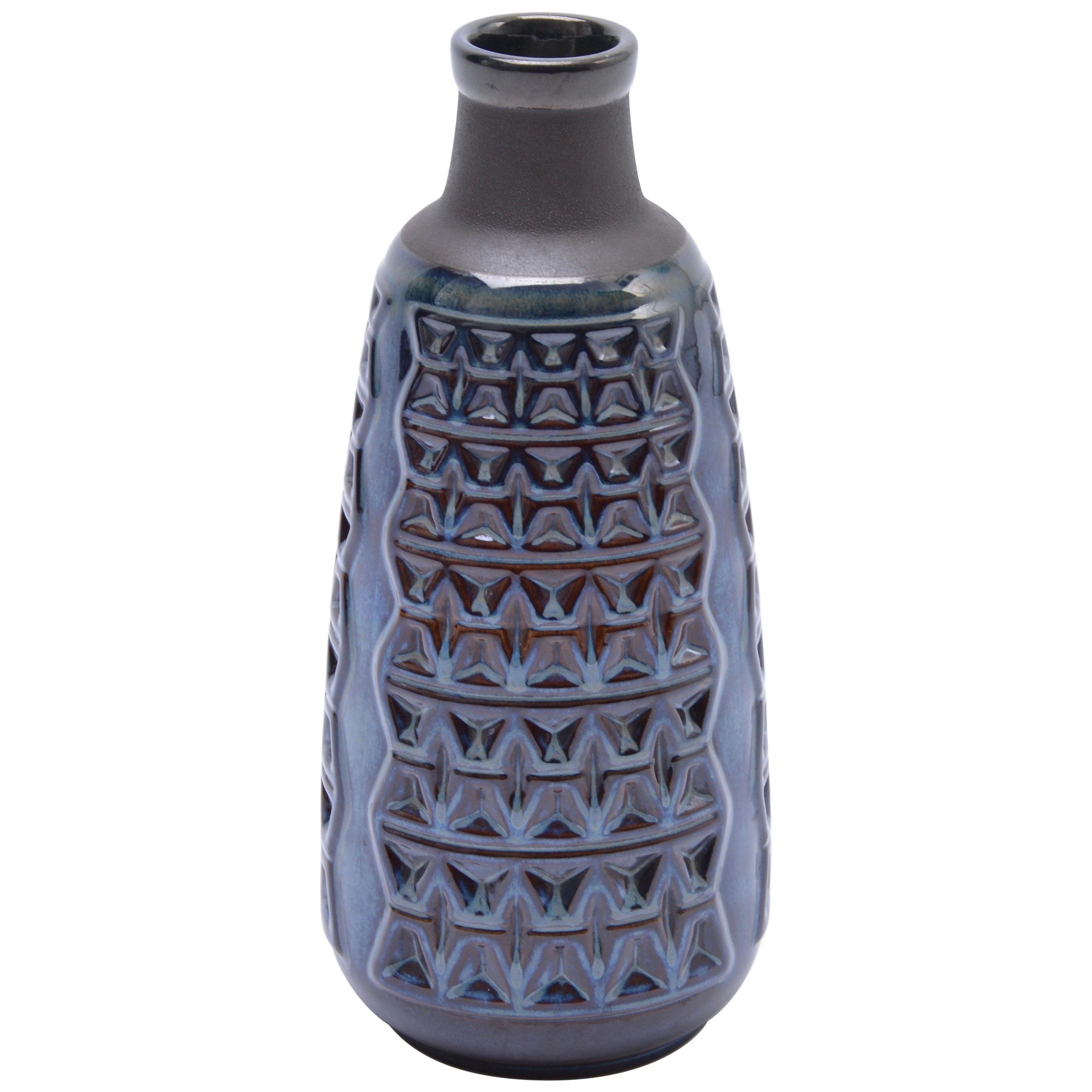 Blue Danish Mid-Century Modern stoneware vase by Einar Johansen for Soholm