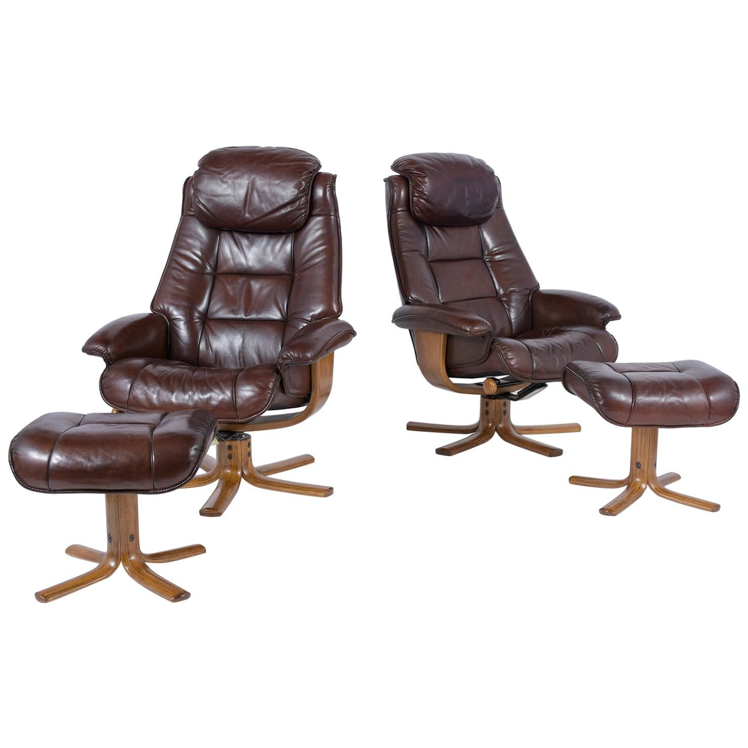 Pair of Mid-Century Swivel Leather Chairs with Ottomans
