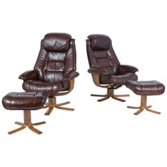 Pair of Mid-Century Danish Swivel Leather Chairs with Ottomans