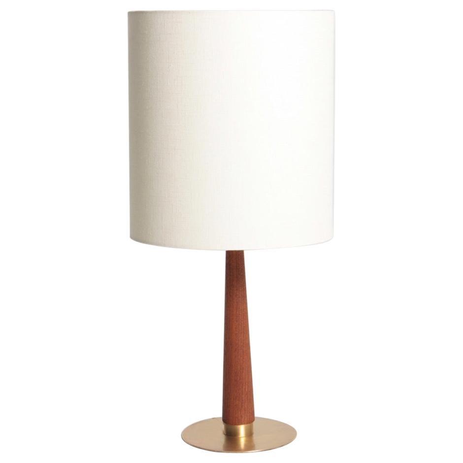Midcentury Danish Table Lamp in Brass & Teak, 1950s