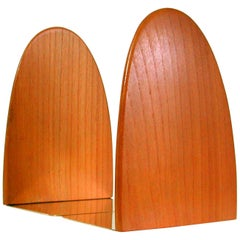 Midcentury Danish Teak and Brass Bookends, 1950s