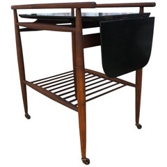 Midcentury Danish walnut Bar Cart Flip Down Black Lacquer Top server
