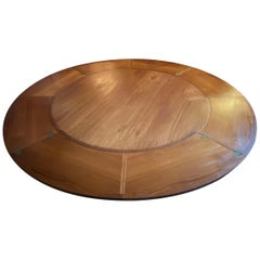 Midcentury Danish Teak Circular Extendable Flip-Flap Dining Table by Dyrlund