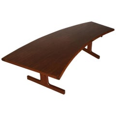 Midcentury Danish Teak Coffee Table with Curved Desk, 1950s