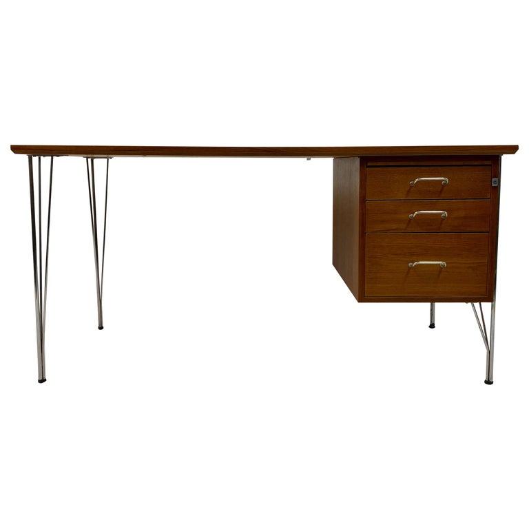 Midcentury Danish Teak Desk on Chrome Hairpin Legs