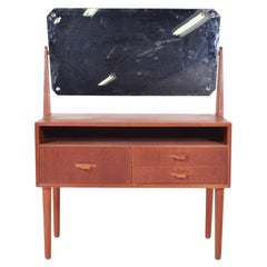 Midcentury Danish Teak Dressing Table with Mirror