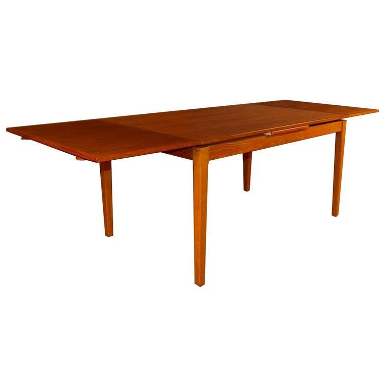 Midcentury Danish Teak Extendable Dining Table For Sale