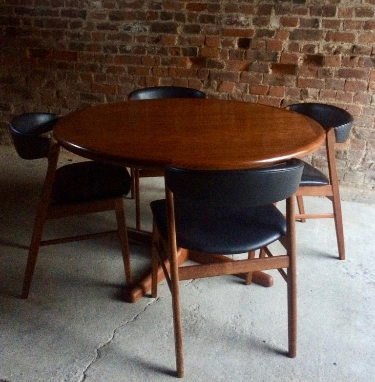 Midcentury Danish Teak Extending Dining Table Circular