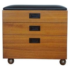 Midcentury Danish Teak Leather Storage Ottoman Stool or Side Table