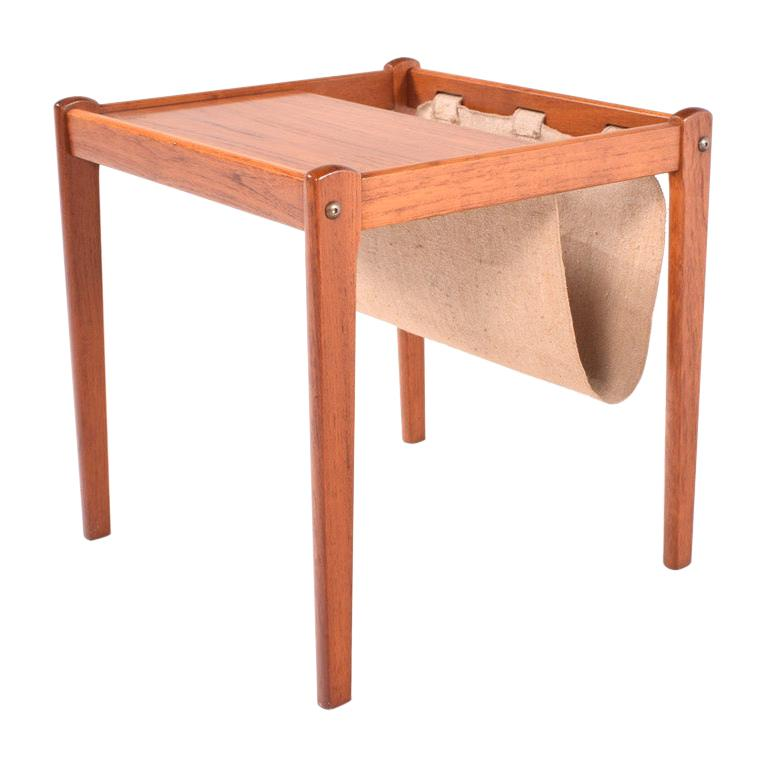 Mid Century Danish Teak Side Table and Magazine Rack, 1960s