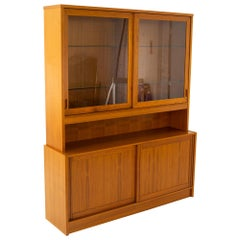 Mid Century Danish Teak Sliding Door Credenza Buffet and Hutch