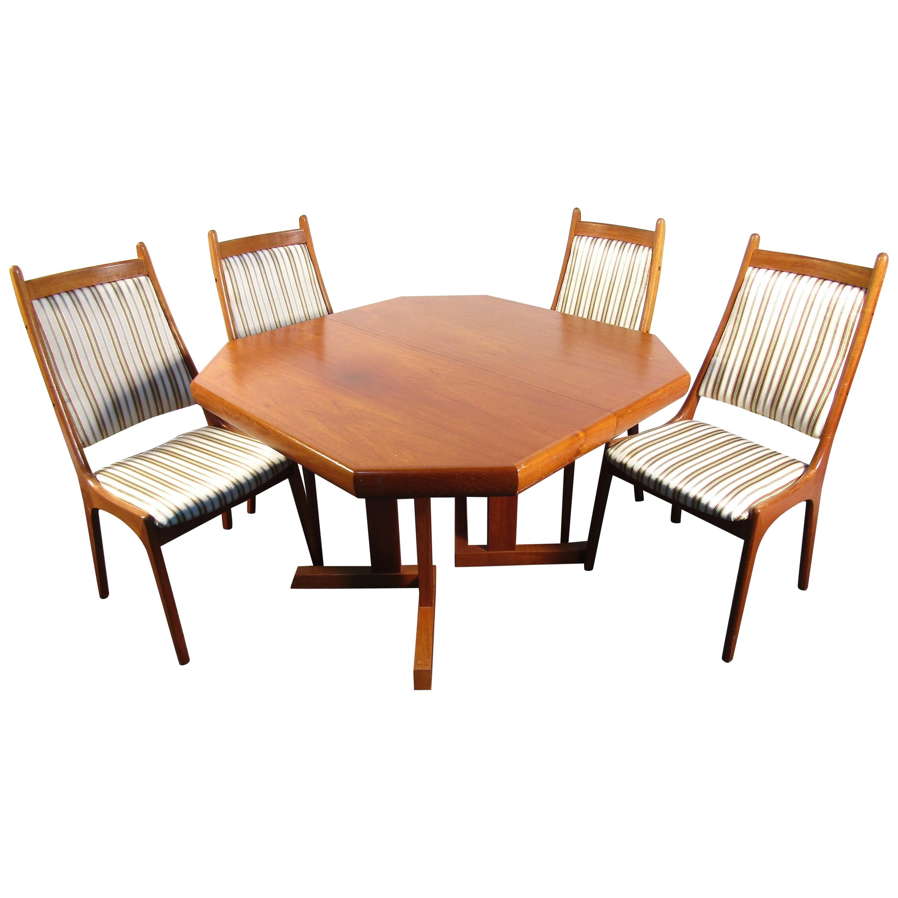 Mid-Century Danish Teak Dining Set with Four Chairs