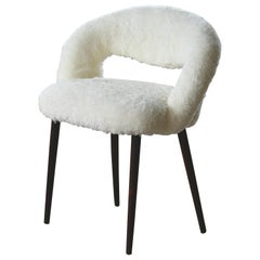 Midcentury Danish Vanity or Dressing Room Chair in Shearling by Frode Holm