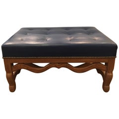 Mid-century Dark Blue Large Leather Ottoman by Baker