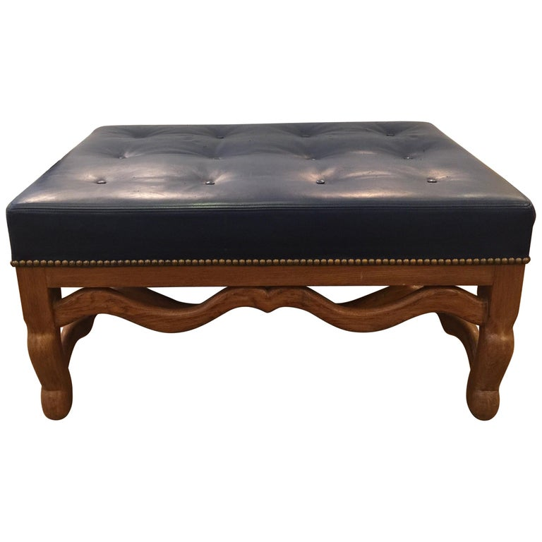 Enjoyable Mid Century Dark Blue Large Leather Ottoman By Baker For Machost Co Dining Chair Design Ideas Machostcouk