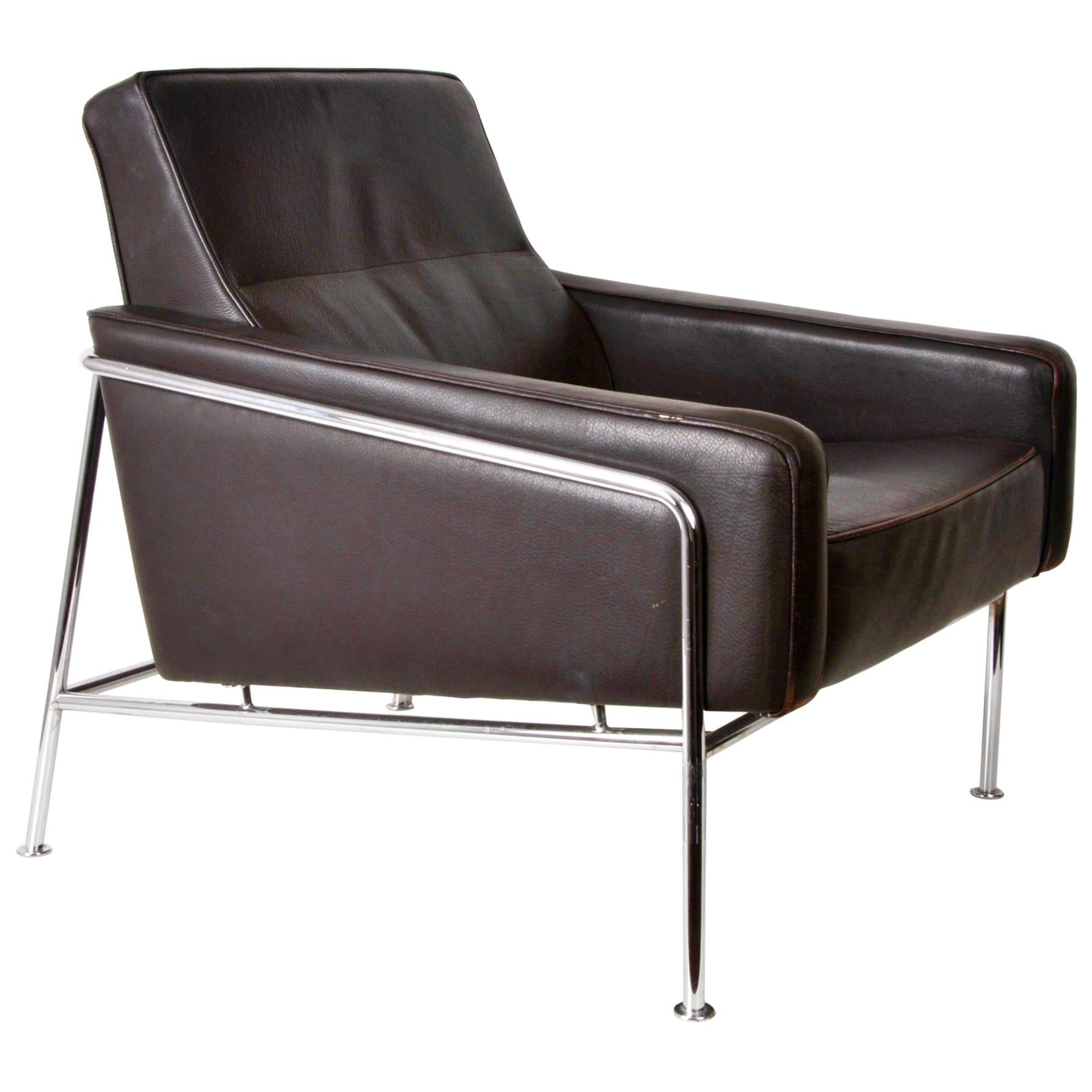 Midcentury Dark Brown Leather Lounge Chair Attributed to Arne Jacobsen, 1956