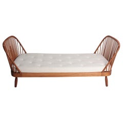 Midcentury Daybed in Elm with New Boucle Mattress Designed by Frode Holm
