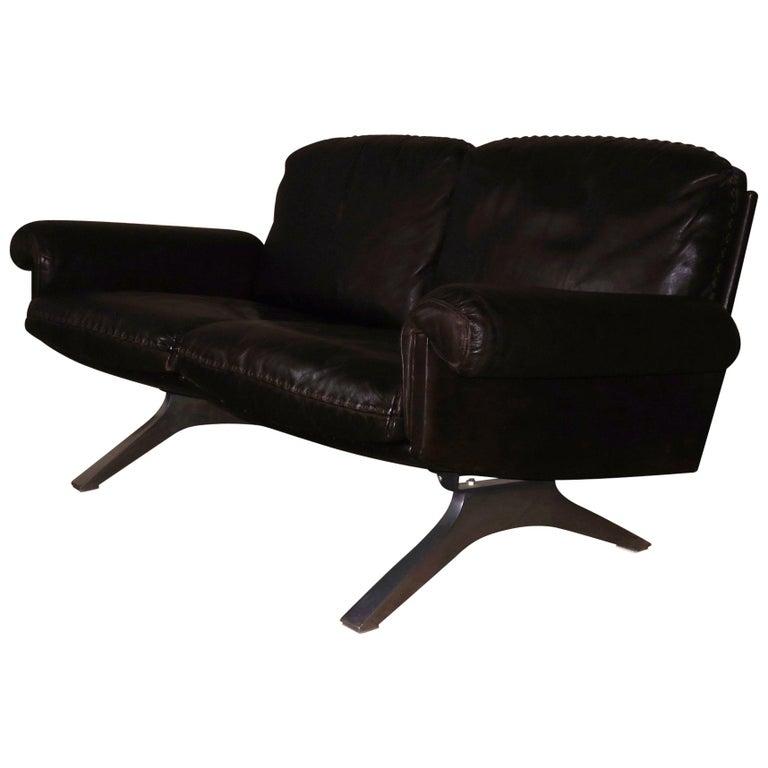 Midcentury De Sede DS 31 Dark Brown Leather Sofa on Aluminum Feet
