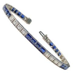 Midcentury Deco Estate 8 Carat Blue Sapphire VS Diamond Line Tennis Bracelet