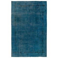 Midcentury Deco Rug Overdyed in Blue for Modern Home and Office Decor