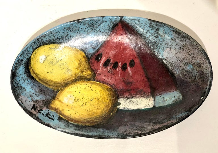 Mid-Century Modern Midcentury Decorative Italian Ceramic Hand Painted Plate Signed For Sale