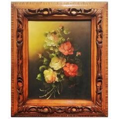 Midcentury Decorative Painting with a Bouquet of Flowers Painted in Oil on Wood