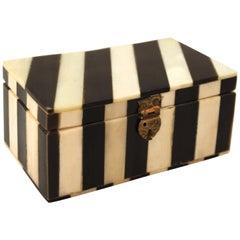 Midcentury Decorative White Bone and Black Striped Box